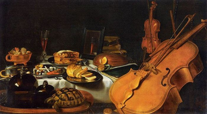 An allegory of five senses. Still Life by Pieter Claesz, 1623. The painting illustrates the senses through musical instruments, a compass, a book, food and drink, a mirror, incense and an open perfume bottle. (via wikipedia)