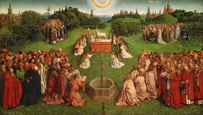 Adoration of the lamb Jan van Eyck (circa 1390-1441) Ghent altarpiece