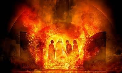 Shadrach Meshach and Abednego tested by fire, meeting the Lord in the fire.