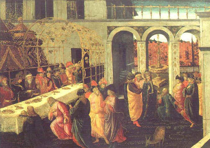 The Banquet of Ahasuerus' by  Jacopo del Sellaio (1442-1493)