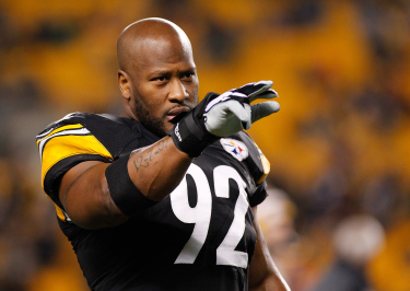 PITTSBURGH, PA - DECEMBER 28: James Harrison #92 of the Pittsburgh Steelers warms up prior to the game against the Cincinnati Bengals at Heinz Field on December 28, 2014 in Pittsburgh, Pennsylvania. (Photo by Justin K. Aller/Getty Images)