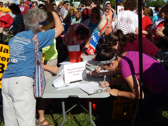 People signing up for the Pro-Life Action League
