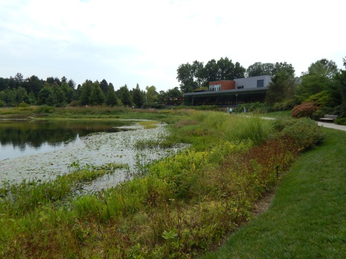Morton Arboretum visitor center w/restaurant next to Meadow Lake